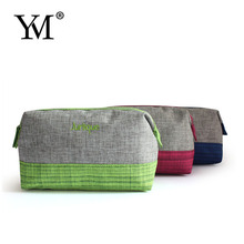 2015 Wholesale fashion elegant zippered linen travel cosmetic bag for promotion
