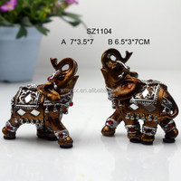 2/s wooden color home tabletop decotation elephant figurines
