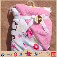 2015 hotsell cheap super soft touch sherpa and microplush baby soft thick fleece blanket/fleece baby blanket handmade/plush anim