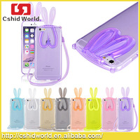 Rabbit Design Crystal Clear Bumper Frame Cut Animal Ear Cellphone Borders Candy Color Soft TPU phone case For Iphone 6 6 Plus