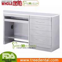 GZ031 Tempered Glass Table Top Medical Dental Computer Desks cabinetwith 4 Drawers Dental cabinet, 985*495*830mm,Dental cabinet