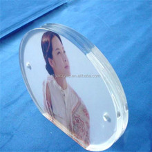 clear round shape acrylic pop photo frame with stand