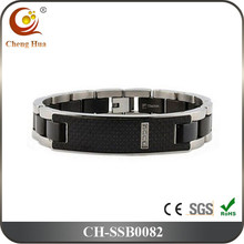Hot Sale Carbon Fiber Titanium ID Bracelet With Crystals
