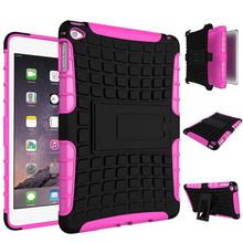 For Apple iPad Mini 4 Case Cover, For iPad Mini 4 Kickstand Case, TPU+PC Tire Pattern Hybrid Case For iPad Mini 4