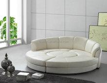 Modern Genuine Leather Round Bed, Genuine Leather Round Sofa Bed