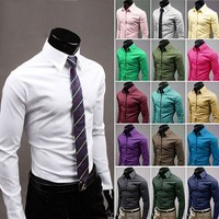 bulk buy from China fashion office formal designs polyester cotton long sleeve solid color man dress shirt