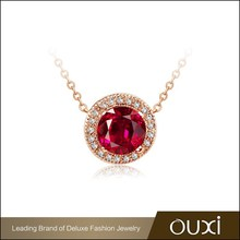 OUXI New Arrival 18 Karat Rose Gold Necklace made the AAA Zircon 11050-2