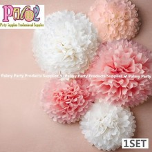 Pink Pom Set, 10 8 6 inch Pink Peach White paper flower ball Wedding Kids Girls Birthday Party Decorations, Photo Backdrop