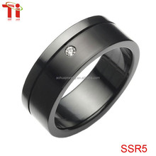 Custom fashion 316l stainless steel jewelry black men's ring