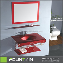 Hangzhou Manufacture Single Sink Countertops One Piece Bathroom Glass Sink Furniture
