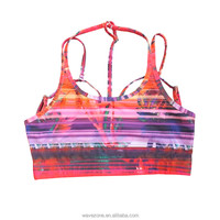Yoga wear active bra with support strappy back, girls sexy sports and yoga bra