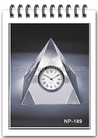 custom design crystal clock,crystal pyramid table clock