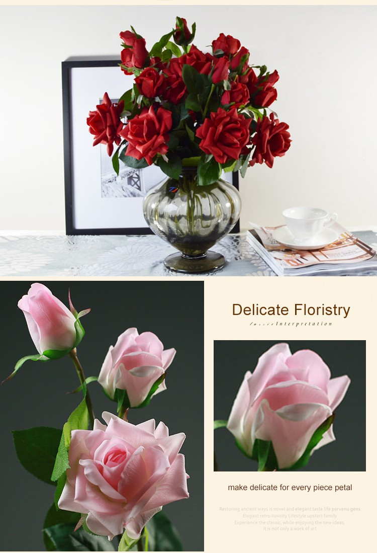 Wholesale Artificial Flowers Real Touch Silk Pink Single Roses Stem