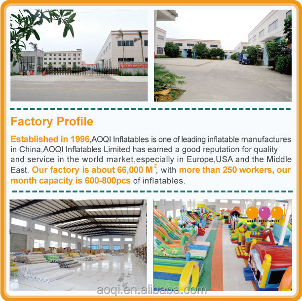 Established in 1996 AOQI Inflatables is one of leading inflatable manufactures in China,AOQI Inflatables Co., Ltd has earned a good reputation for quality and service in the world market,especially in Europe,USA and the Middle East. Our factory is about 66,000 square meter, with more than 250 workers, our month capacity is 600-800pcs of inflatables.