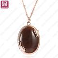 collar de piedra marrón oval de fondo orado oval de cadena larga de diseño largo para mujeres