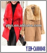 Hot Fashion Big Fur Neck Coat Three Colors Availale Trench Coat