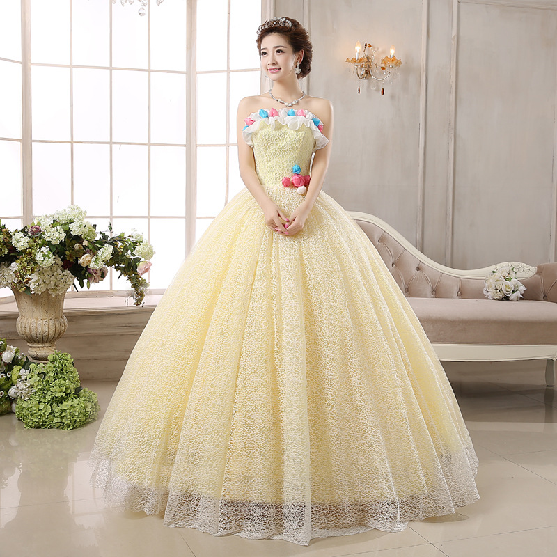 A Line Floor Length Milk Yellow Strapless Puffy Alibaba Lace Wedding ...
