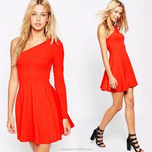 New fashion dress design women slim fit red long sleeve one shoulder skater dress