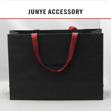 Hot new product small black paper bags with handles for clothing packing