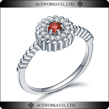 2015 Fashion top quality 925 sterling silver ruby cz ring cheap wholesale rings for girls