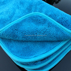 Blue Thick 50x70cm Microfiber Car Cleaning Towel