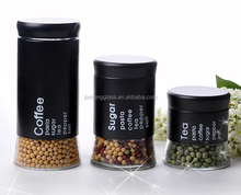 stainless steel covering glass canister sets with logo printing