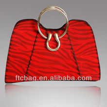 Flash Powder Ladies Red Leather Fashionable Handbag