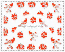 Hot Sale New Girl Red Color 3D Nail Art Sticker Silver Flower Pattern Nail Sticker