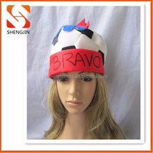 Factory sale blue and white stock carnival party football top cap hat