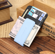 Bitone lichee PU leather magnetic money clip ID front pocket card holder magnet leather money clip wallet