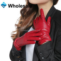 2014 winter new style!! Comfortable Women Italian perforated leather gloves with bow cherry
