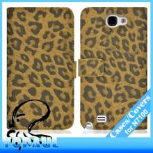cuero de la pu diseños de lujo leopardo caso de samsung galaxy note 2