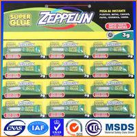 1.5g super glue 110 in aluminium tube 12pcs/card