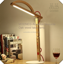 Modeng Arc head bent legs modern office lighting led red oak wood light dimmable led desk lamp FOR interior decoration