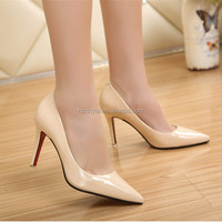New Arrival Style High heel pointy toe shoes italy women Pumps original Genuine Patent Leather brand shoes ladies Dress shoes