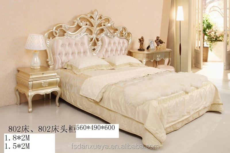 Italian Royal Bedroom Furniture Luxury Upholstered Canopy Bed With Night Stan