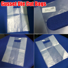 "gusseted poly bags 8""X4""X18"" High Density Natural Clear Polyethylene Die cut gusset bags"