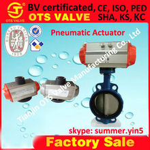 Bv-SY-409 ductile iron wafer pneumatic butterfly with positioners, filter regulators, limit switches, solenoids