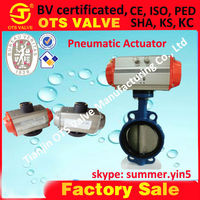 Pn10 PN16 PN25 ductile iron wafer pneumatic butterfly with positioners, filter regulators, limit switches, solenoids