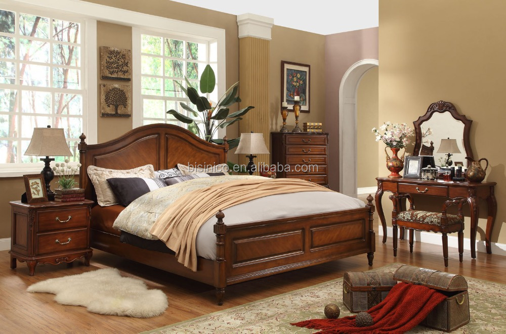 classique en bois simple chambre coucher am ricain lit queen antique solide meubles de. Black Bedroom Furniture Sets. Home Design Ideas