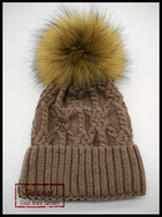 Stylish Pom Pom Winter Knit Hats Natural Real Raccoon Fur Balls Wholesale Custom Women Hat/OEM
