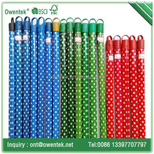 Durable round wooden broom stick with PVC coated in round dot color