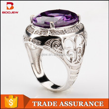 newest stylish 925 silver rings amethyst stone rings
