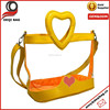 Yellow heart style shoulder hand cross body beach bag