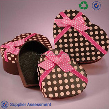 Hot sale elegant gift paper box with ribbon and small dots printed