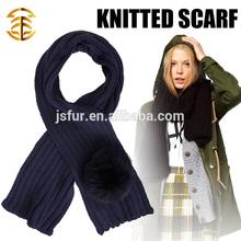 moda y cálido invierno bufanda venta al por mayor de piel de zorro Pom Pom lana de punto a mano encargo de ganchillo bufanda