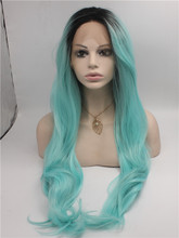 Cheap Two Tone Ombre Lace Front Wig, Black Light Blue Ombre Wig, Wavy Long Kanekalon Ombre Wig