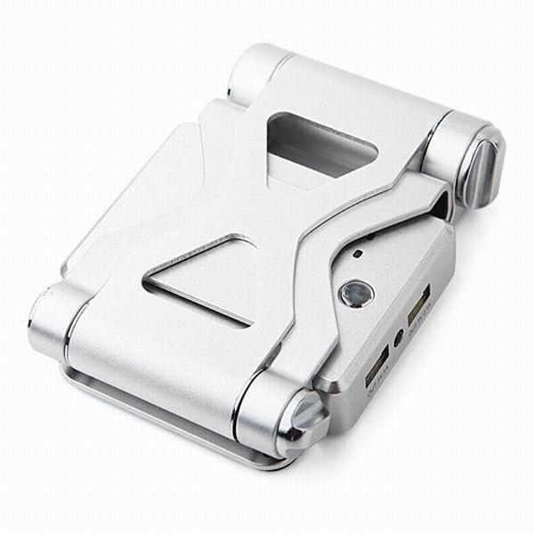 Nouveaux produits 2016 Puissance Banque 10400 mah avec Support Se Pliant pour Tablet PC/Dual USB/Led Lumière des consommateurs L'électronique