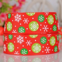 "1""25mm Red color snowball printed Christmas gift ribbon"