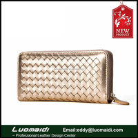 Customize genuine lambskin leather weave ladies purse, women long/travel wallet, ladies evening clutch bag